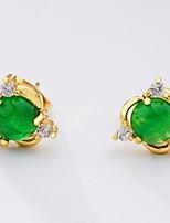cheap -Women's Stud Earrings Jade Sweet Fashion Elegant Gold Plated Geometric Jewelry Wedding Party