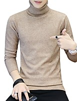 cheap -Men's Daily Casual Regular Pullover,Solid Turtleneck Long Sleeves Polyester Japanese Cotton Winter Fall Thick Micro-elastic