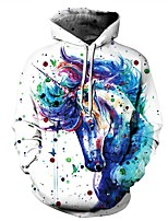 cheap -Men's Plus Size Sports Going out Casual Active Punk & Gothic Hoodie Print Animal Print Hoodie Hoodies Micro-elastic Polyester Elastane