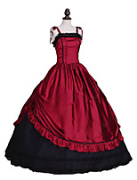 abordables -Rococo Victorien Costume Une Pièce Robes Rouge/noir Vintage Cosplay Satin Stretch Sans Manches