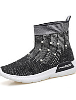 cheap -Women's Shoes Knit Spring Fall Comfort Loafers & Slip-Ons Walking Shoes Flat Heel Round Toe Booties/Ankle Boots Rhinestone for Casual