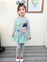 cheap -Girls' Daily Patchwork Clothing Set,Cotton Rayon Spring Fall Simple Active Blushing Pink Green