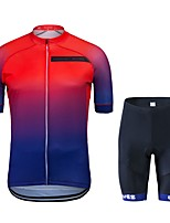 cheap -Cycling Jersey with Shorts Unisex Short Sleeves Bike Clothing Suits Bike Wear Quick Dry Geometric Cycling / Bike Red