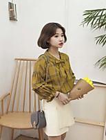 cheap -Women's Casual/Daily Active Spring/Fall Shirt,Lolita Round Neck Long Sleeve Cotton Medium