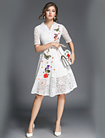 cheap -SHE IN SUN Women's Daily Work Casual Street chic A Line Swing Dress,Floral Shirt Collar Midi Half Sleeve Polyester Fall Mid Rise Inelastic Opaque
