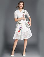 economico -Linea A Swing Vestito Da donna-Quotidiano Ufficio Casual Moda città Fantasia floreale Colletto Medio Mezza manica Poliestere Autunno A