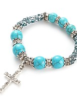cheap -Men's Women's Strand Bracelet Turquoise Rhinestone Simple Classic Fashion Imitation Diamond Turquoise Alloy Cross Jewelry Daily