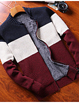 cheap -Men's Daily Simple Casual Color Block Stand Cardigan, Long Sleeves Spring Polyester