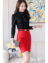 cheap -Women's Casual/Daily Sophisticated Shirt,Solid Stand Long Sleeves Polyester
