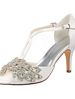 cheap -Women's Shoes Stretch Satin Summer Basic Pump Wedding Shoes Stiletto Heel Peep Toe Crystal for Wedding Party & Evening Ivory