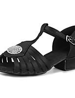 "cheap -Children's Latin Glitter Satin Sandal Heel Training Rhinestone Buckle Chunky Heel Black 2"" - 2 3/4"" Customizable"