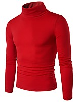 Недорогие -Для мужчин Повседневные На каждый день Обычный Пуловер Однотонный,Хомут Длинный рукав Полиэстер Японскийхлопок Зима Осень Тонкая
