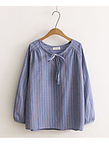 cheap -Women's Daily Casual Fall T-shirt,Striped Round Neck Long Sleeve Polyester Thin
