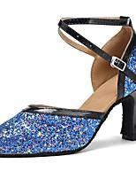 abordables -Modernes Paillettes Faux Cuir Sandale Talon Nœud Talon Personnalisé Noir / bleu. Personnalisables