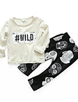cheap -Baby Boys' Daily Print Clothing Set,Cotton Spring Simple Long Sleeve Gray