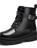 cheap -Women's Shoes PU Spring Fall Comfort Fashion Boots Boots Creepers Round Toe Mid-Calf Boots for Casual Black