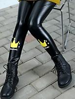 cheap -Girls' Solid Pants,PU Winter Cute Black