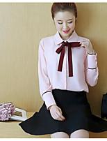 Недорогие -Для женщин Прочее Осень Рубашка Рубашечный воротник,Уличный стиль Однотонный Длинный рукав,Полиэстер