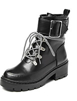 cheap -Women's Shoes PU Winter Fall Comfort Boots Chunky Heel Closed Toe Mid-Calf Boots for Casual Outdoor Black