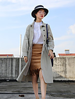 cheap -Women's Daily Vintage Winter Trench Coat,Solid Round Neck Short Sleeve Regular Cotton Acrylic Pleated