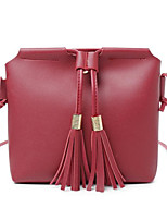 cheap -Women Bags PU Polyester Shoulder Bag Tassel for Casual All Season Wine Light Grey Dark Blue Blushing Pink Black