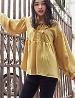 Недорогие -Для женщин На каждый день Рубашка Круглый вырез,Уличный стиль Однотонный Длинный рукав,Хлопок