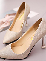 cheap -Women's Shoes PU Spring Fall Comfort Heels Stiletto Heel for Casual Gold Silver