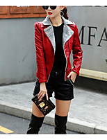 cheap -Women's Daily Vintage Winter Leather Jacket,Solid Round Neck Short Sleeve Regular Cotton Acrylic Ruffle Pleated
