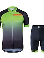 cheap -Wisdom Leaves Cycling Jersey with Shorts Unisex Short Sleeves Bike Clothing Suits Bike Wear Quick Dry Geometric Cycling / Bike Black/Green