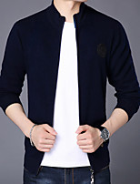 cheap -Men's Daily Simple Street chic Regular Cardigan,Solid Color V Neck Long Sleeve Cashmere Polyester Spring Opaque Micro-elastic
