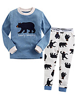cheap -Unisex Creative Sleepwear, Cotton Long Sleeves Ordinary Blue Blushing Pink