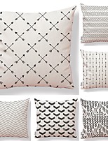 cheap -6 pcs Textile Cotton/Linen Pillow Cover, Polka Dot Geometric Plaid/Check