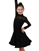 cheap -Latin Dance Dresses Children's Performance Nylon Ruching Long Sleeve High Dresses