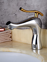 cheap -Art Deco / Retro Centerset Widespread Ceramic Valve Single Handle One Hole Electroplated , Bathroom Sink Faucet