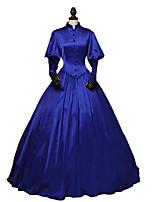 preiswerte -Rokoko Viktorianisch Kostüm Damen Erwachsene Einteilig Kleid Himmelblau Vintage Cosplay Stretch-Satin Langarm Knöchel-Länge