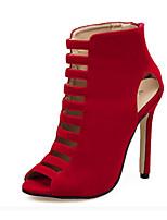 abordables -Femme Chaussures Cuir Nubuck Printemps Eté Confort Nouveauté Botillons Bottes Talon Aiguille pour Habillé Soirée & Evénement Noir Rouge