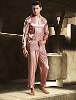 abordables -Costumes Pyjamas Homme,Fleur Moyen Polyester Marron Gris