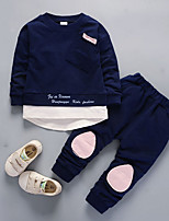 cheap -Boys' Daily Solid Clothing Set,Nylon Fall Long Sleeve Casual Light Blue Light Green Navy Blue Blushing Pink