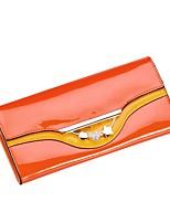 cheap -Women Bags Cowhide Patent Leather Wallet Buttons Crystal Detailing for Casual Office & Career All Season Orange