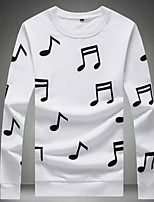 cheap -Men's Going out Print Round Neck Regular, Long Sleeves Fall Polyester
