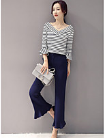 cheap -Women's Daily Casual All Seasons T-Shirt Pant Suits,Striped V-neck 3/4 Sleeve Polyester Stretchy