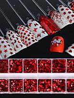 economico -1set Lusso Brillanti Di tendenza Con lustrini Glitter per unghie Rosso