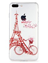 abordables -Funda Para Apple iPhone 7 iPhone 6 Diamantes Sintéticos En Relieve Cubierta Trasera Caricatura Torre Eiffel Suave TPU para iPhone 8 Plus