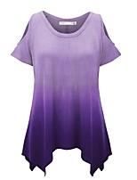 abordables -Tee-shirt Femme,Couleur Pleine Quotidien Décontracté Printemps Eté Manches courtes Col Arrondi Polyester Opaque
