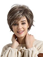 abordables -MAYSU Mujer Pelucas sintéticas Corto Ondulado Natural Marrón/Blanco Pelo reflectante/balayage Parte lateral Corte Pixie Con flequillo