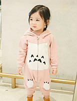 cheap -Baby Kid's Casual/Daily Animal Print One-Pieces,Cotton Spring Integrated Style Long Sleeve Yellow Blushing Pink