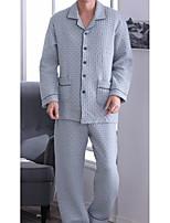 abordables -Costumes Pyjamas Homme,Fleur Moyen Polyester Bleu Gris