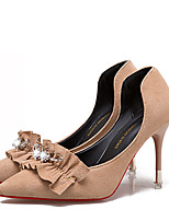 cheap -Women's Shoes Nubuck leather Spring T-Strap Heels Stiletto Heel Pointed Toe Rhinestone for Casual Black Beige Almond