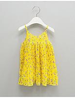 Недорогие -Девичий Платье Цветочный принт Без рукавов Очаровательный Желтый