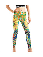 cheap -Women's Retro Cotton Opaque Solid Color Legging,Solid Print Yellow
